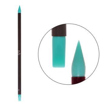 IRISK, Кисть силиконовая с тонкой ручкой Nail Sculptor, конус/прямая, бирюзовая
